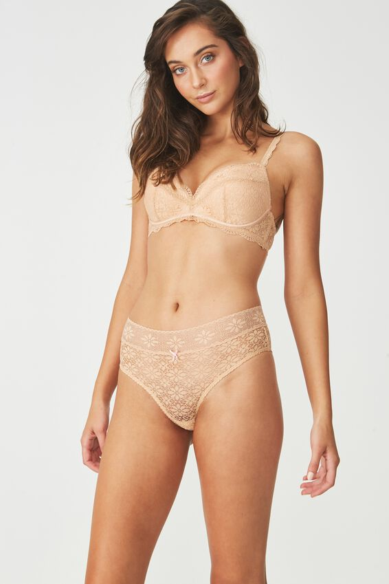 Jojo Allover Lace High Waist Brasiliano Brief, ALMOND