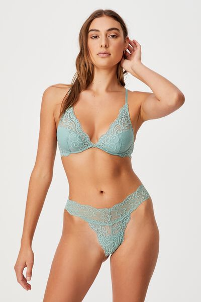 Ainsley Lace Plunge Contour Bra, SMOKED GREEN