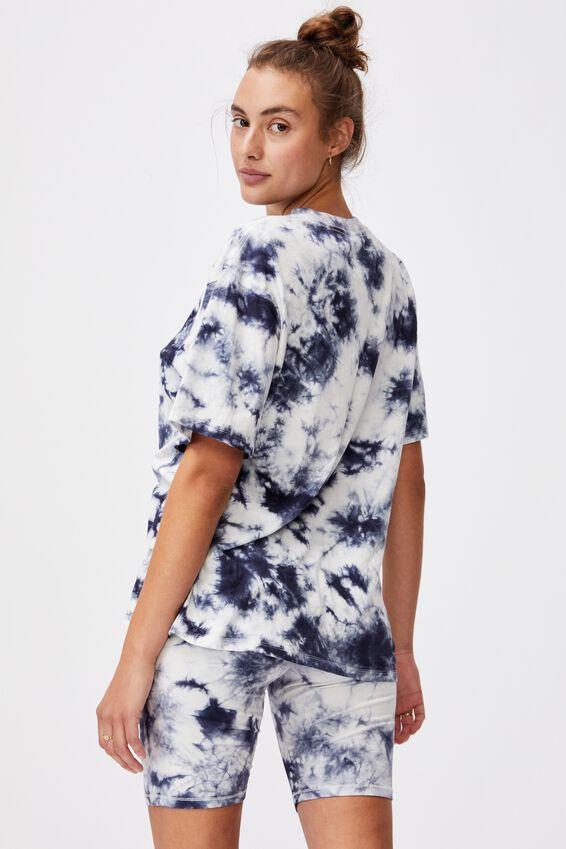 90S Bed T Shirt, NAVY TIE DYE