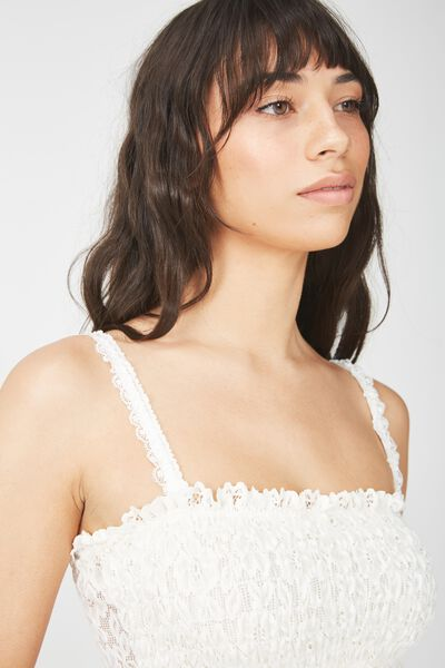 Stephanie Lace Shirred Bandeau, CREAM