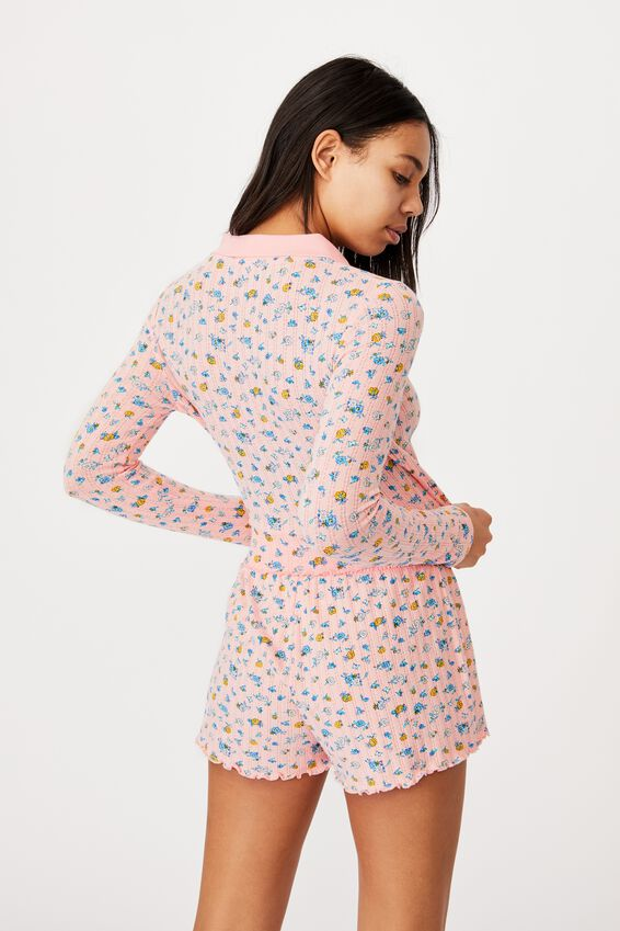 Knit Pointelle Polo Long Sleeve, BUTTERFLY DITZY/ROSE WATER MARLE
