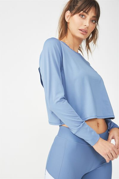 Textured Envelope Back Top, CHALKY BLUE