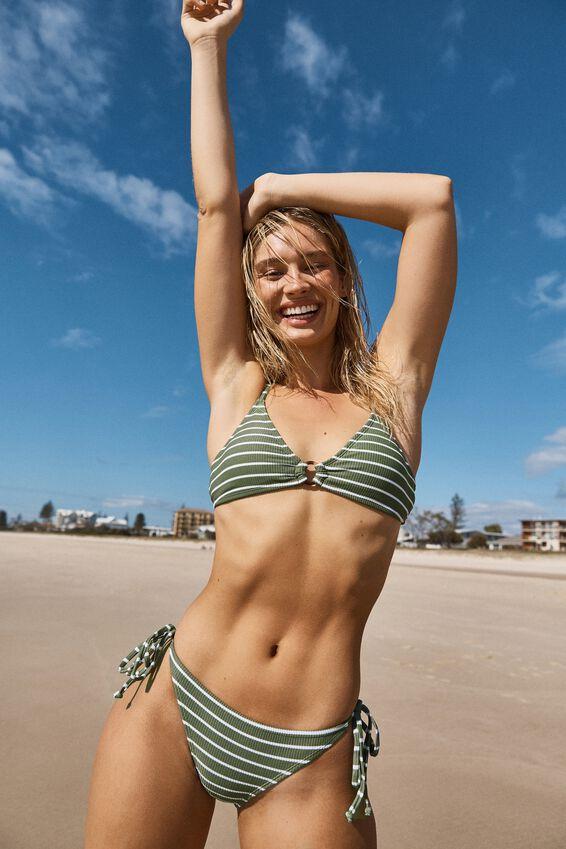 Tie Side Cheeky Bikini Bottom, COOL AVOCADO STRIPE RIB