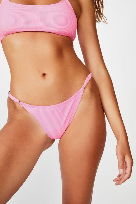 Tanga Micro Bikini Bottom, PINK POP RIB