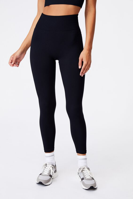 Lifestyle Seamless Rib 7/8 Tight, BLACK CHEVRON
