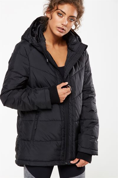 Active Puffer Jacket, BLACK