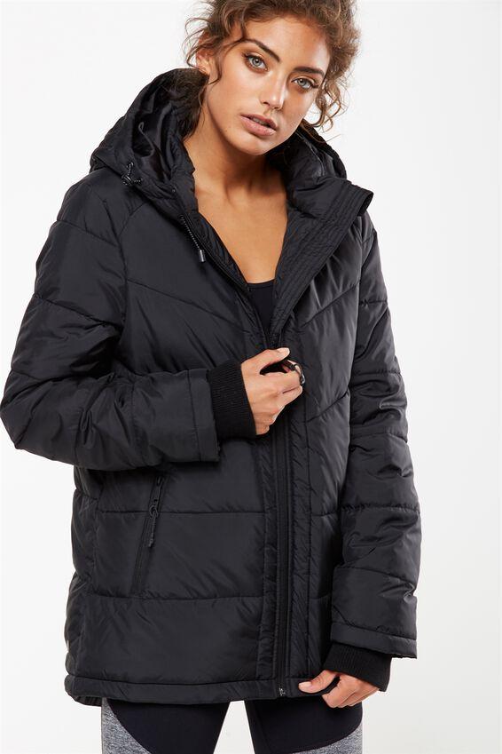 Active Puffer Jacket, BLACK