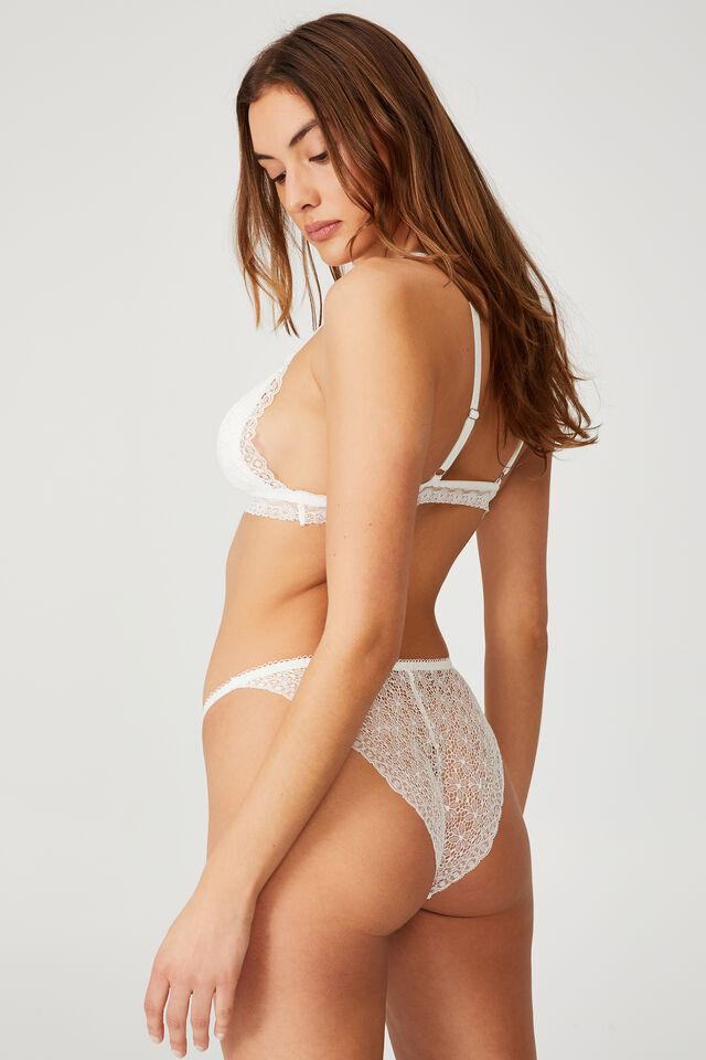 Fifi Lace Tanga Bikini Brief, CREAM