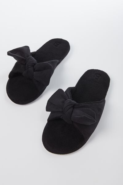 Bow Slipper, BLACK
