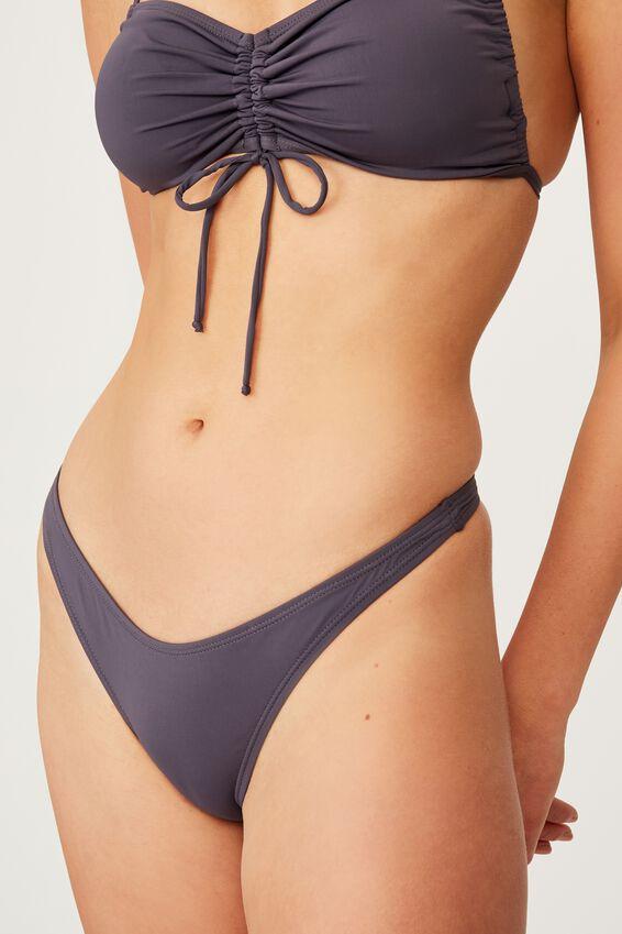 High Side Thong Bikini Bottom, IRON