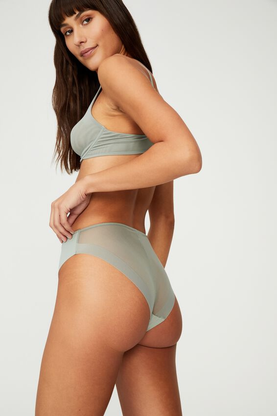 Everyday Mesh High Cut Bikini Brief, DESERT SAGE