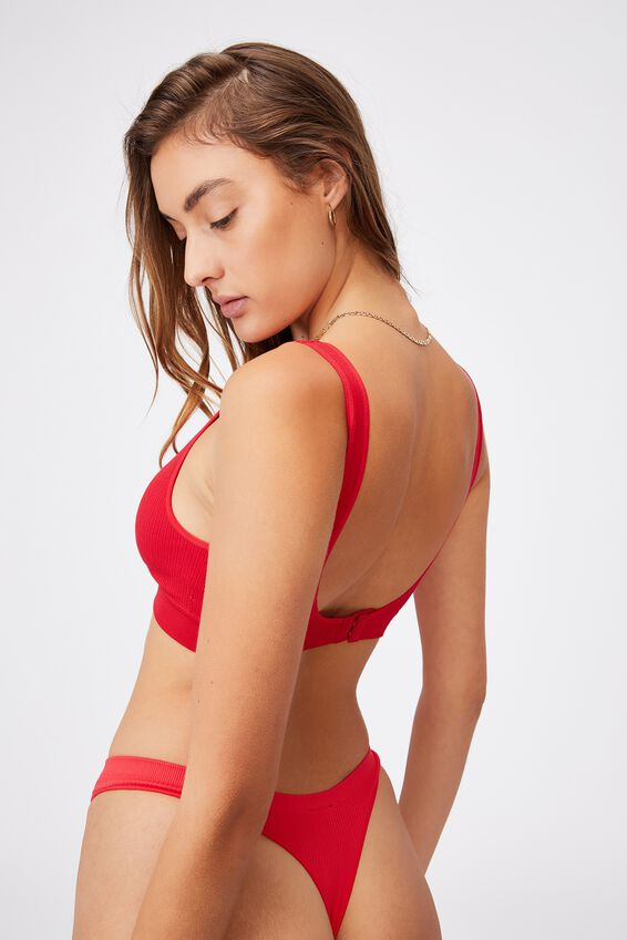 Seamfree Plunge Bralette, TRUE RED
