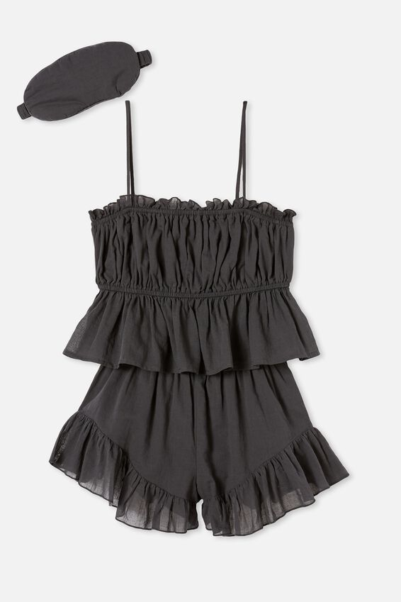 Woven Cami And Short Set, WASHED BLACK