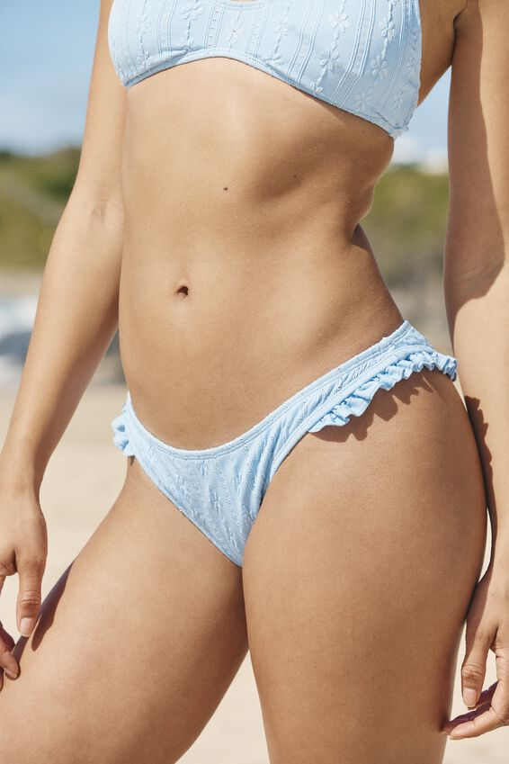 Refined High Side Brazilian Bikini Bottom, POWDER BLUE BROIDERIE