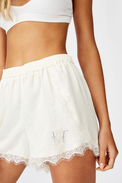 Personalised Textured Satin Short, GARDENIA