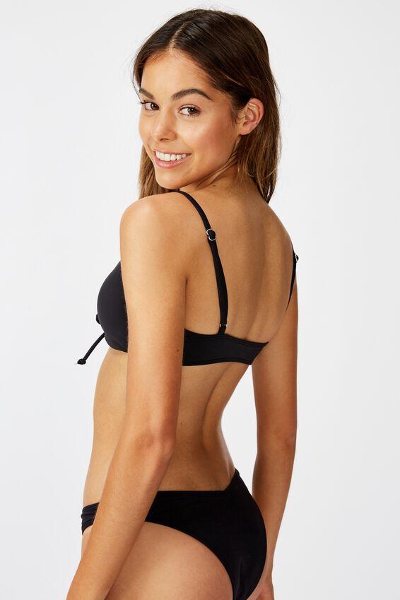 Renewed Lace Up Scoop Bikini Top, BLACK