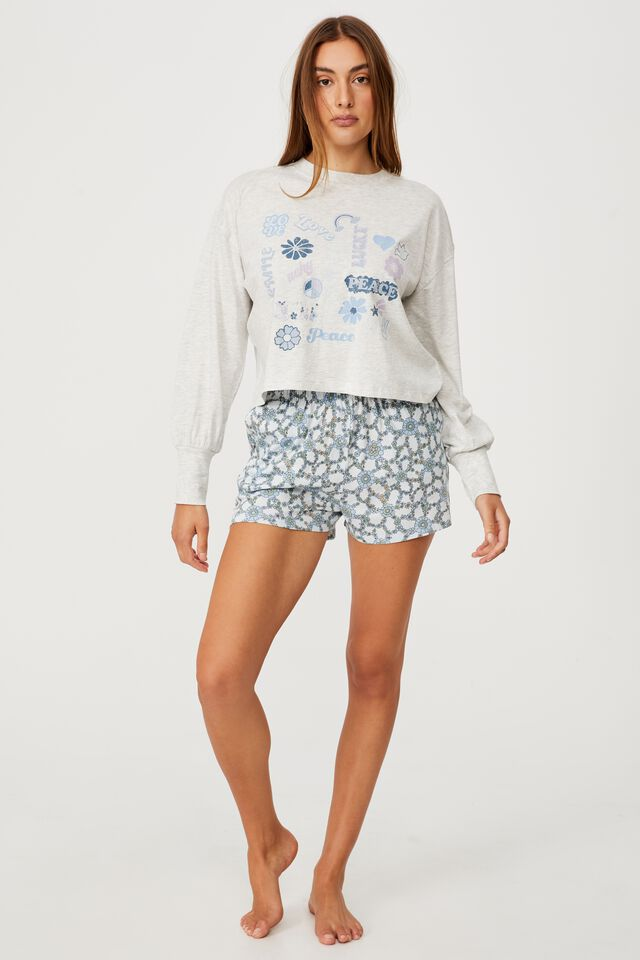 Jersey Sleep Pullover, RETRO PATCHES/SUMMER GREY MARLE