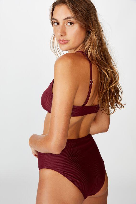 Scoop Crop Bralette Bikini Top, MERLOT RIB