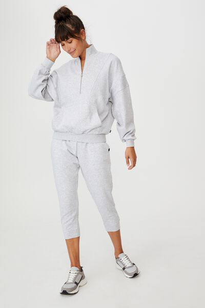 Lifestyle Cropped Gym Track Pants, CLOUDY GREY MARLE