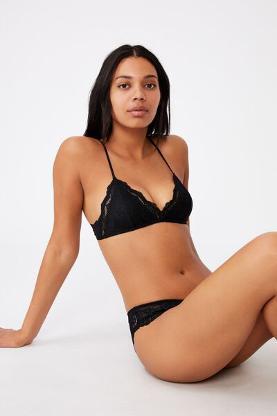 Zoe Lace Bralette, BLACK