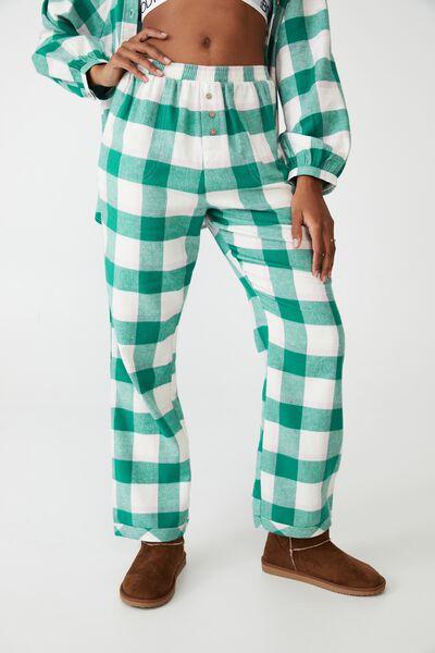 Warm Flannel Sleep Pant, FIELD CHECK GREEN ROOM