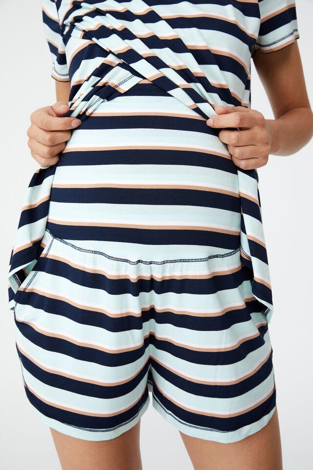 Sleep Recovery Maternity Pocket Short, PEPPERMINT STRIPE