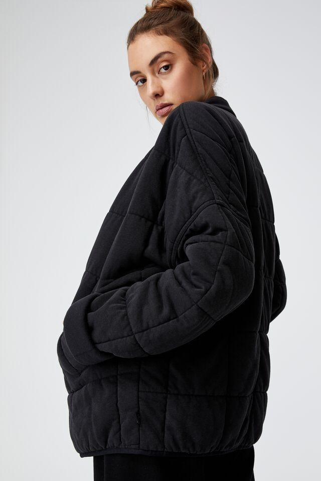 Quilted Zip Through Jacket, BLACK