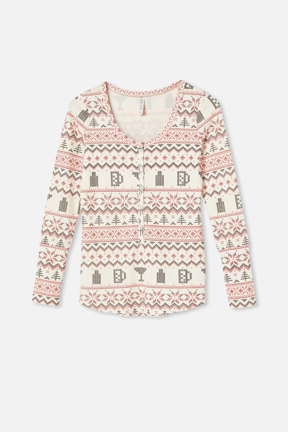 Henley Waffle Long Sleeve Top, BOOZY FAIR ISLE