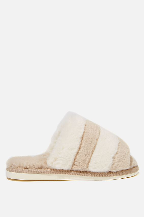Fluffy Slide Slipper, BUTTERMILK MULTI