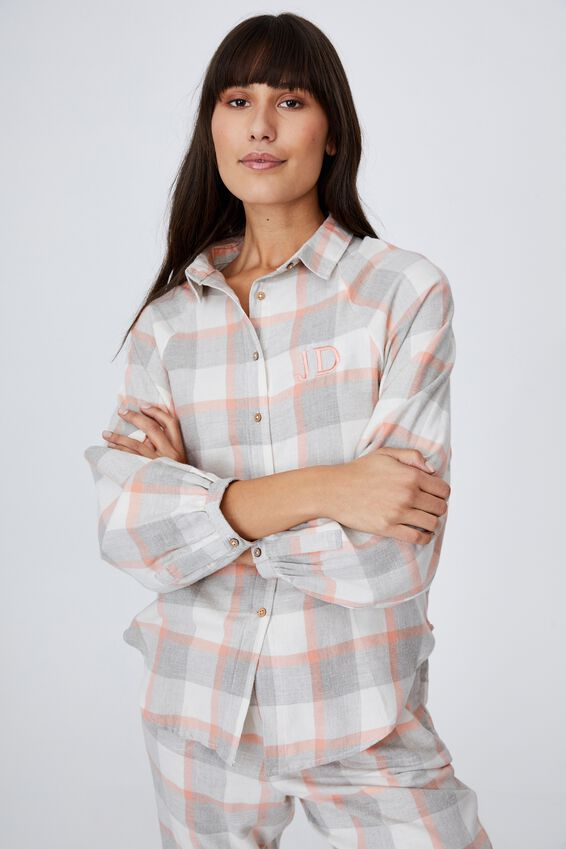 Warm Flannel Sleep Shirt Personalisation, FIELD CHECK WASHED APRICOT