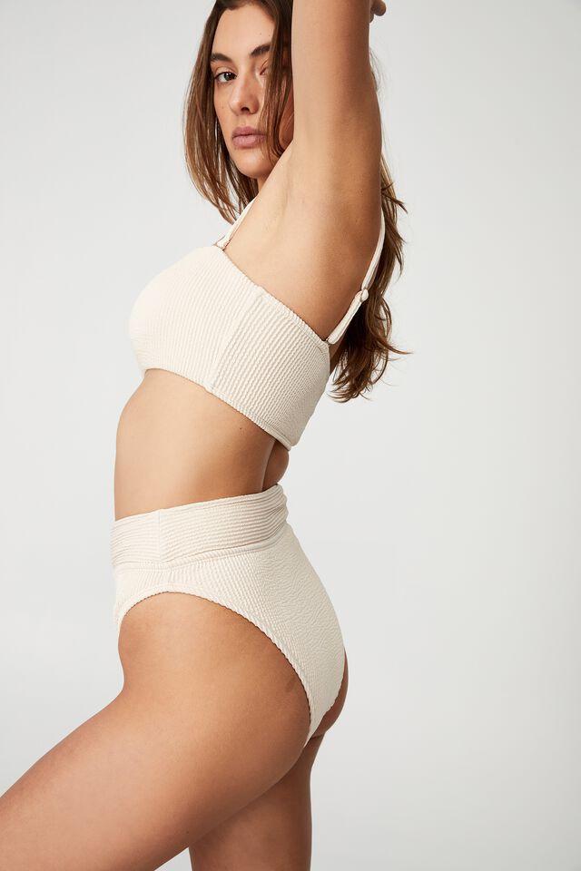 Highwaisted Cheeky Bikini Bottom, SANDCASTLE CRINKLE