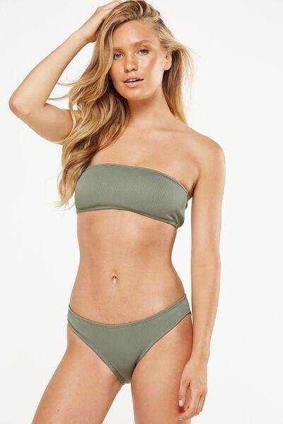 Rib Straight Neck Bandeau Bikini Top, COOL AVOCADO
