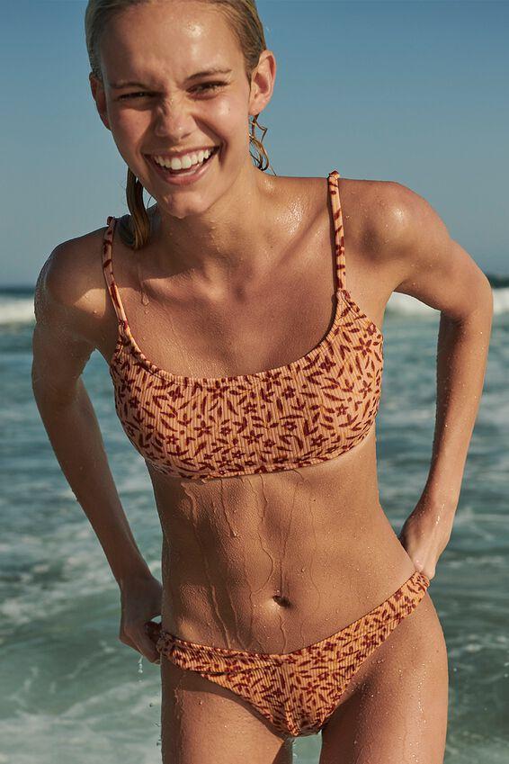 Scoop Crop Bralette Bikini Top, APRICOT FLORAL RIB