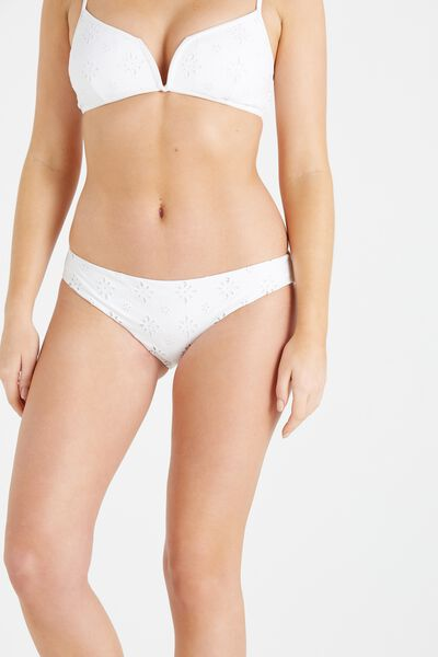 Feminine Cheeky Bikini Bottom, WHITE BRODERIE