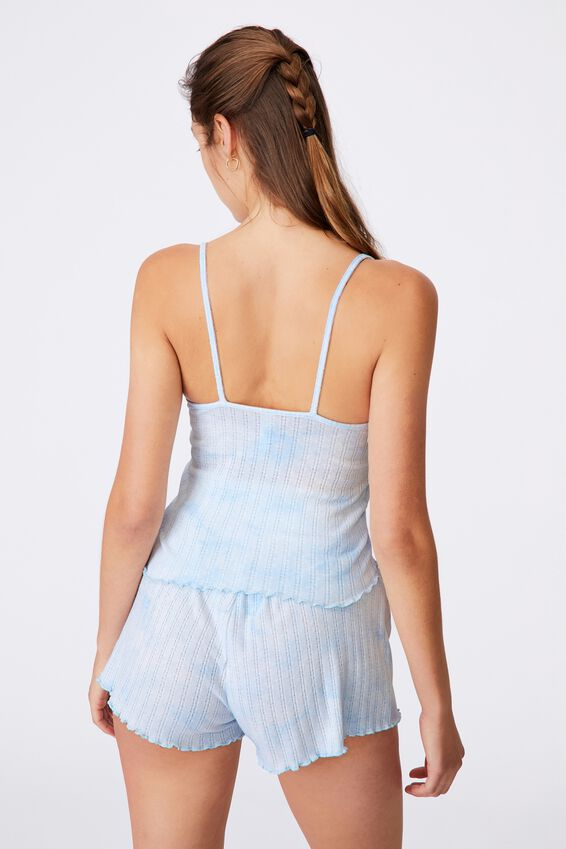 Knit Pointelle Sleep Tank, TIE DYE SOFT BLUE