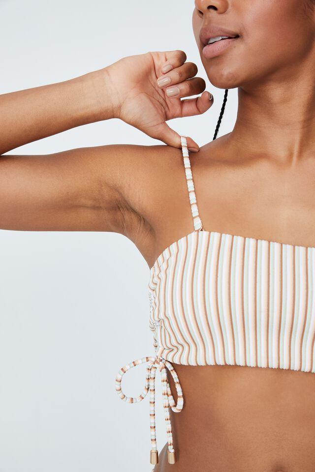 Side Gathered Midi Bandeau Bikini Top, MINT CHIP MULTI LUREX STRIPE