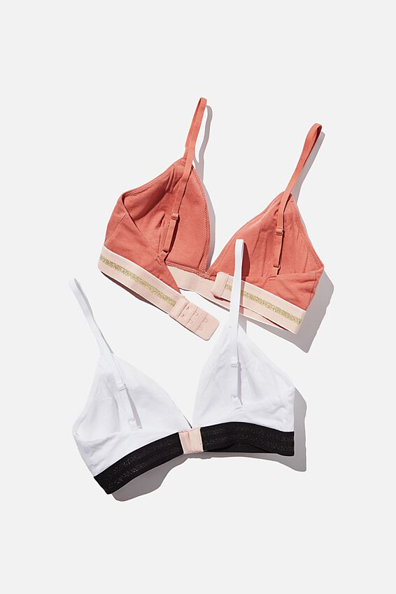 Sporty Femme Bralette, WHITE/CANYON CLAY