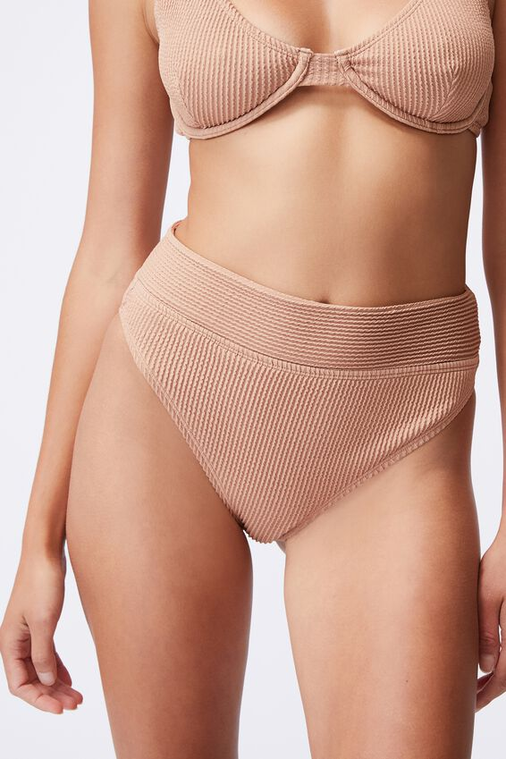 Highwaisted Cheeky Bikini Bottom, LION BROWN CRINKLE