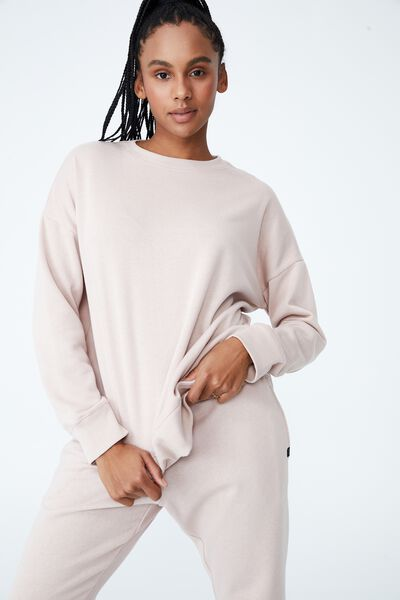 Lifestyle Long Sleeve Crew Top, OYSTER PINK