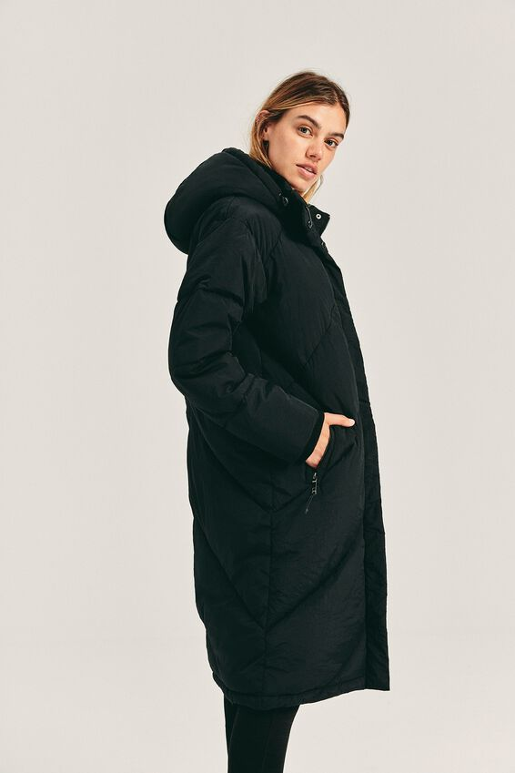 The Mother Longline Puffer Jacket, BLACK