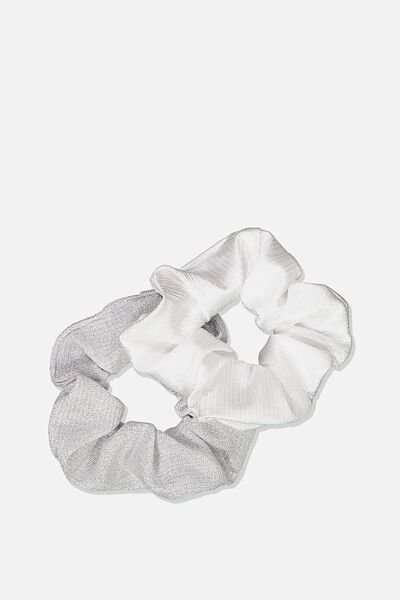 Double Scrunchie Pack, WHITE SPARKLE