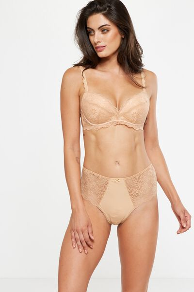 Jojo High Waist Brasiliano Brief, ALMOND