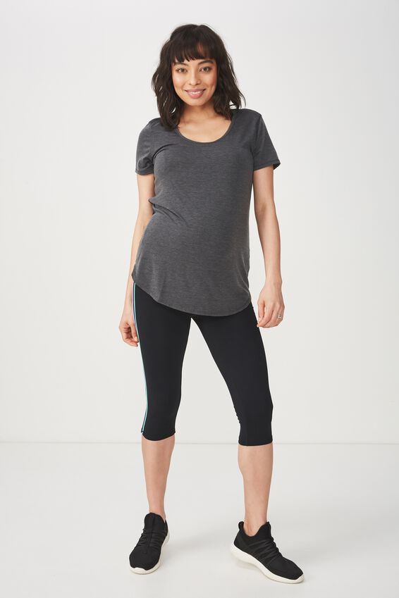 Maternity Gym T Shirt, CHARCOAL MARLE