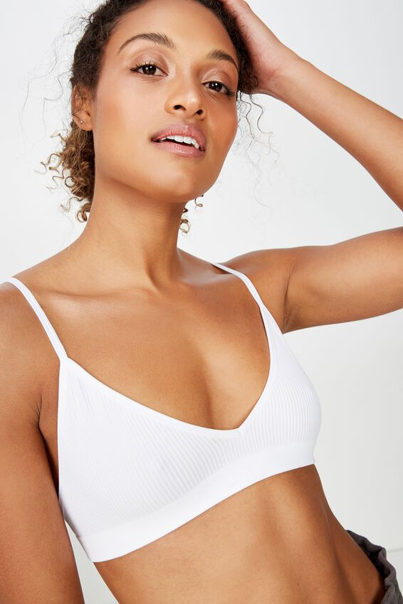 Seamless Triangle Bralette, WHITE