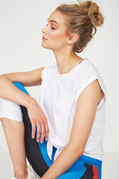 Tie Front Muscle Tank Top, WHITE