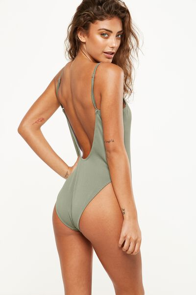 Rib Straight Neck One Piece Cheeky, COOL AVOCADO