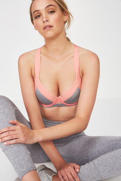 Medium Impact Contour Sports Bra, CLAY / GREY MARLE