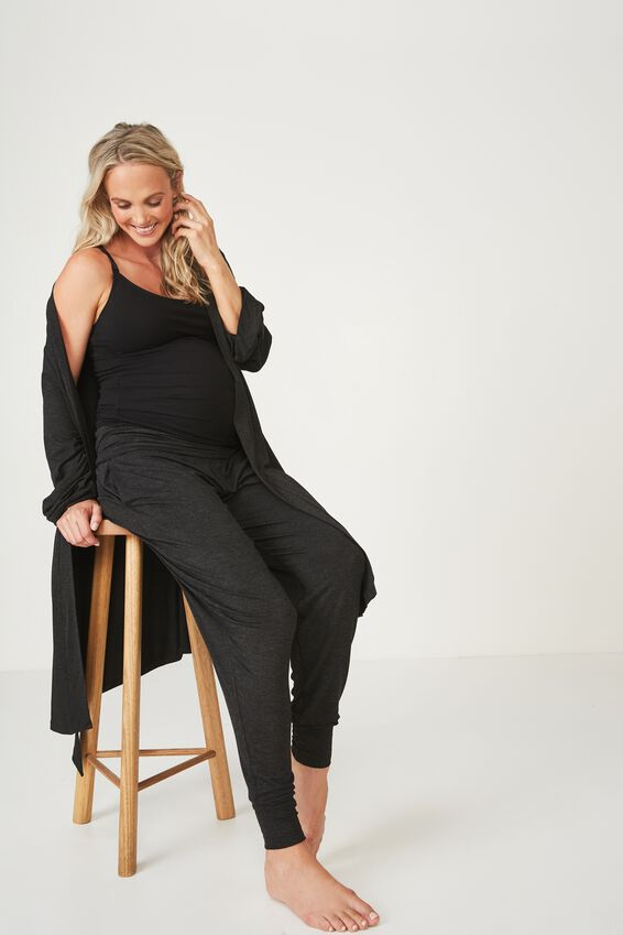 Sleep Recovery Maternity Gown, BLACK MARLE