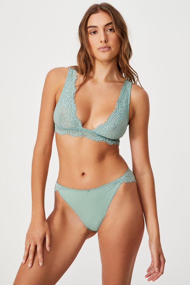 Ainsley Lace Bikini Brief, SMOKED GREEN