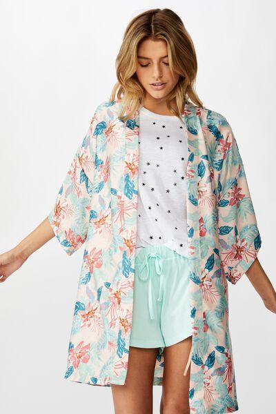 Satin Kimono Gown, FADED HAWAIIAN